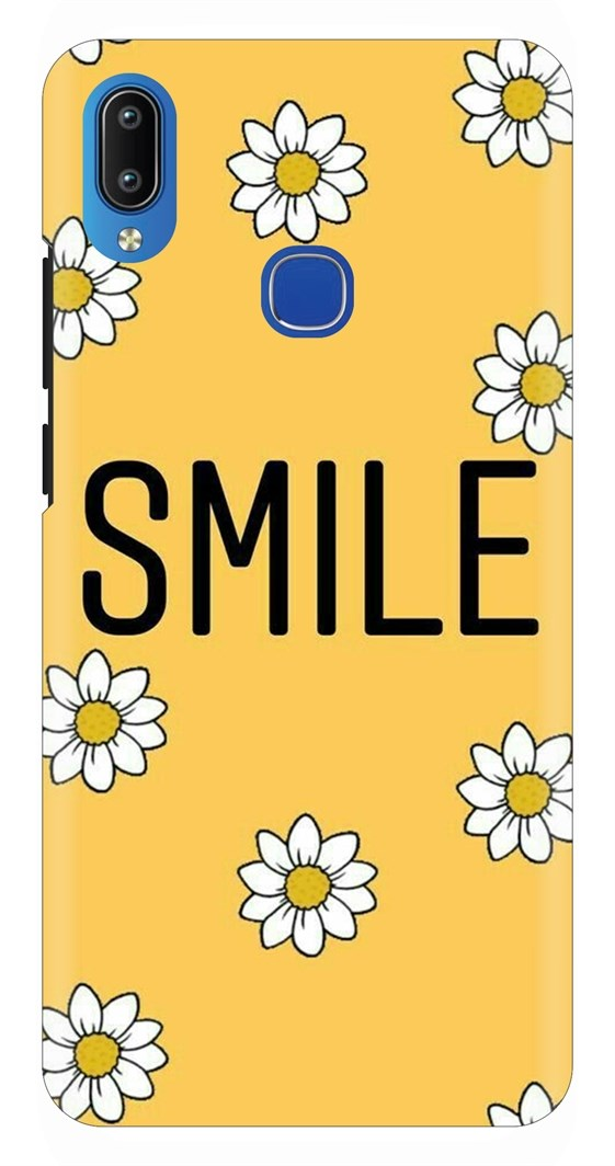 Smile Font On Yellow Floral Canvas Back Case Cover forVivo Y91
