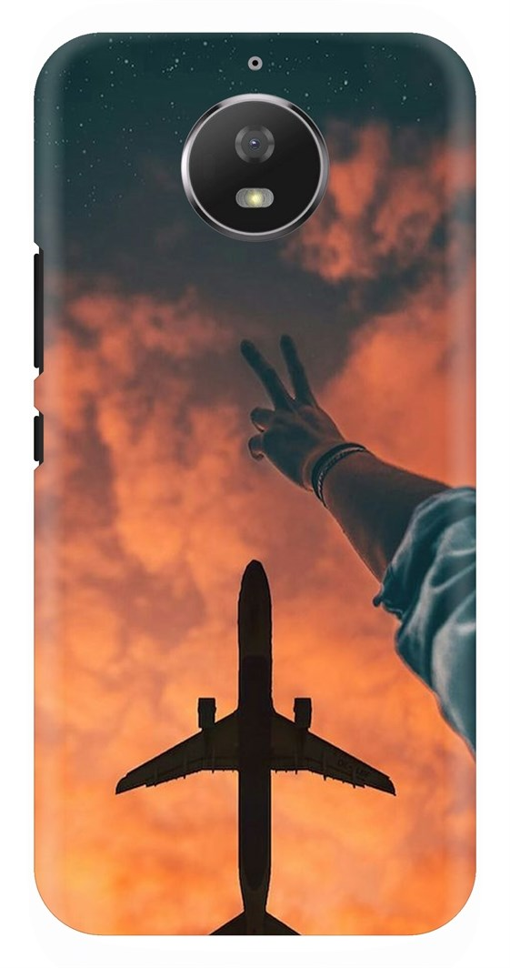 View Of Flying Plane At Evening Back Case Cover for Motorola Moto G5Plus