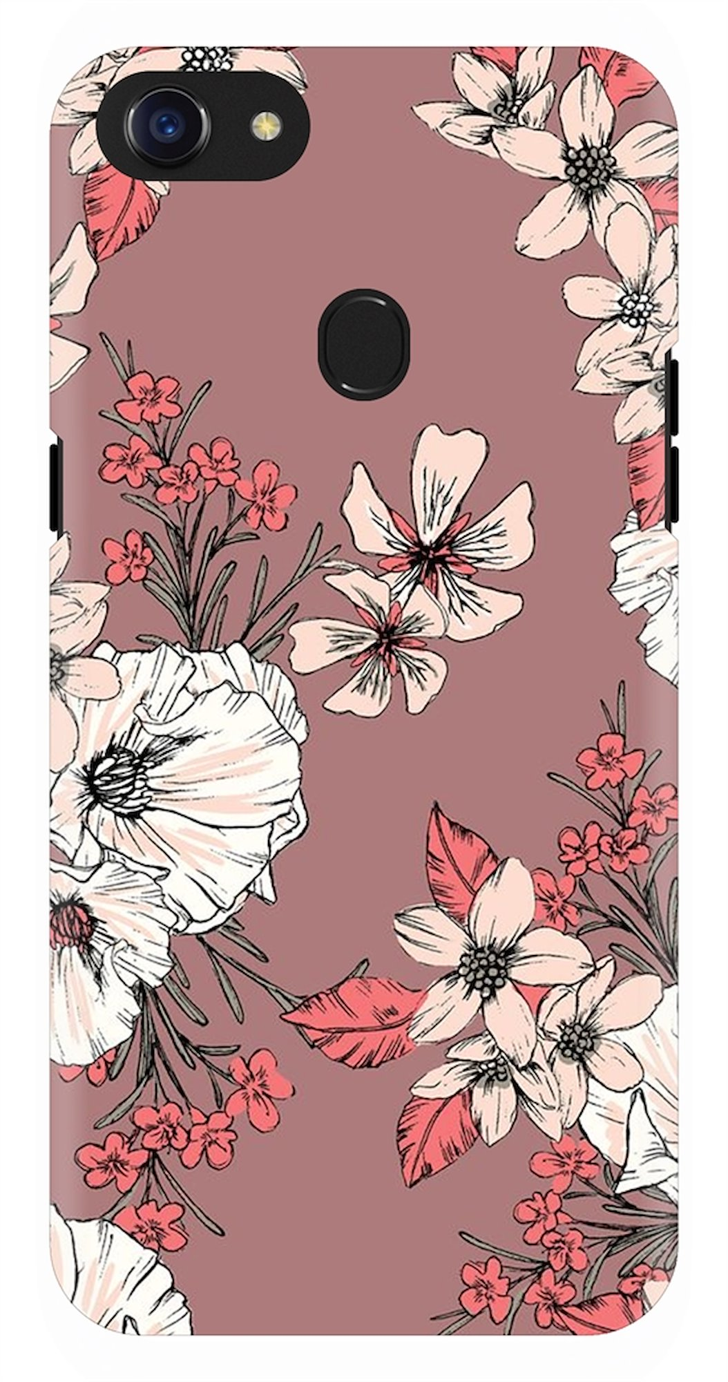 Brown Shade Floral Pattern Back Case Cover for Oppo F7
